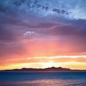 by Daniel Olsen - Landscapes Sunsets & Sunrises ( water, great salt lake, sunset, scenic )