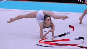 La gimnasta ejidense en acción.