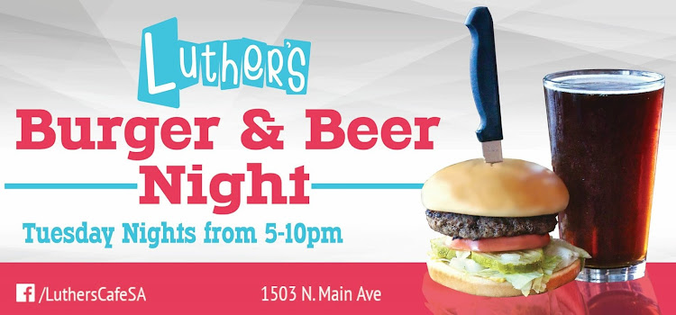 Logo for Burger & a Beer Night @ Luther's Cafe Inc