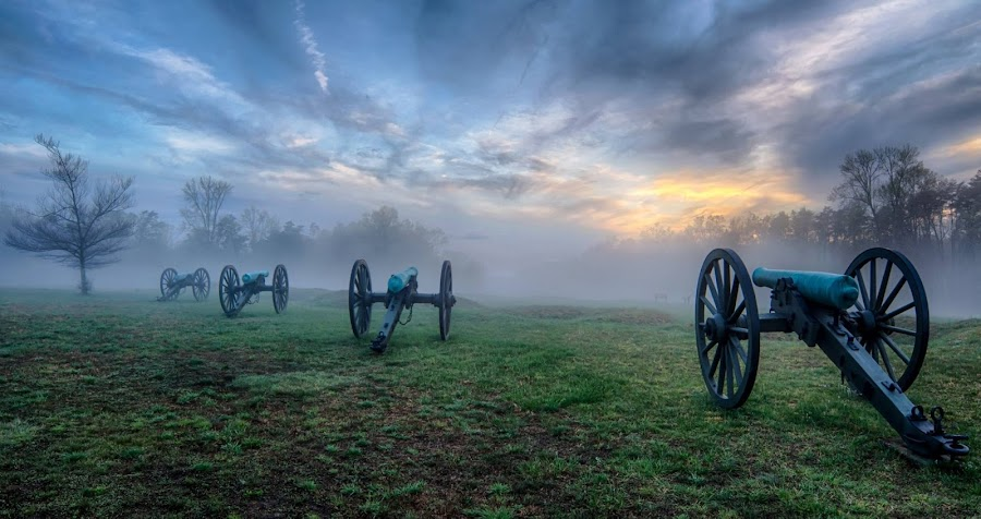 A foggy sunset on the Chancellorsville Battlefield by Theresa Rasmussen - City,  Street & Park  Historic Districts ( canon, battlefield, fog, sunset, chancellorsville, fredericksburg )
