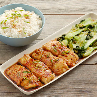Honey-Soy Cod with Ginger Bok Choy & Rice.