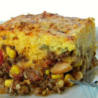 Chili Pie with Green Chile and Cheddar Cornbread Crust.