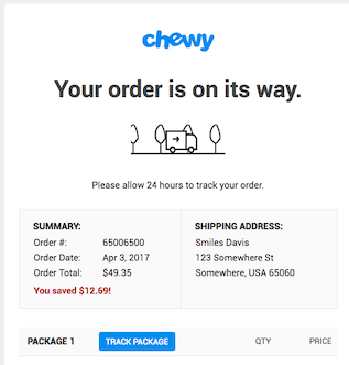 Chewy order email. Text reads: your order is on its way.
