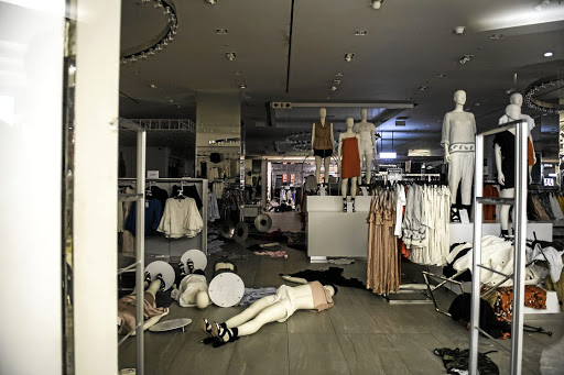 Chaotic consequences: H&M store after being vandalised by the EFF. Picture: Gallo Images/Netwerk24 /Deon Raath