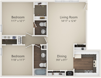 Go to Two Bed, 1.5 Bath A Floorplan page.