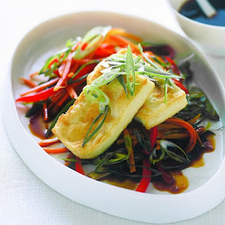 Pan-fried Tofu With Ponzu Dressing And Shredded Vegetables