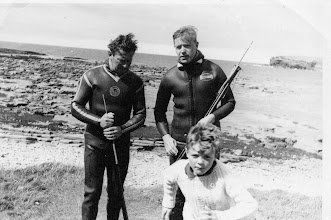 Photo: Club Spearfishing Championships, Aug '65. Fintan Mullowney (winner, rt.) Joe Roddy (runner- up, left)