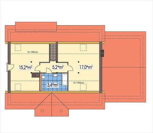 Sielanka 2 100 MDM wersja A z podwójnym garażem - Rzut poddasza do adaptacji