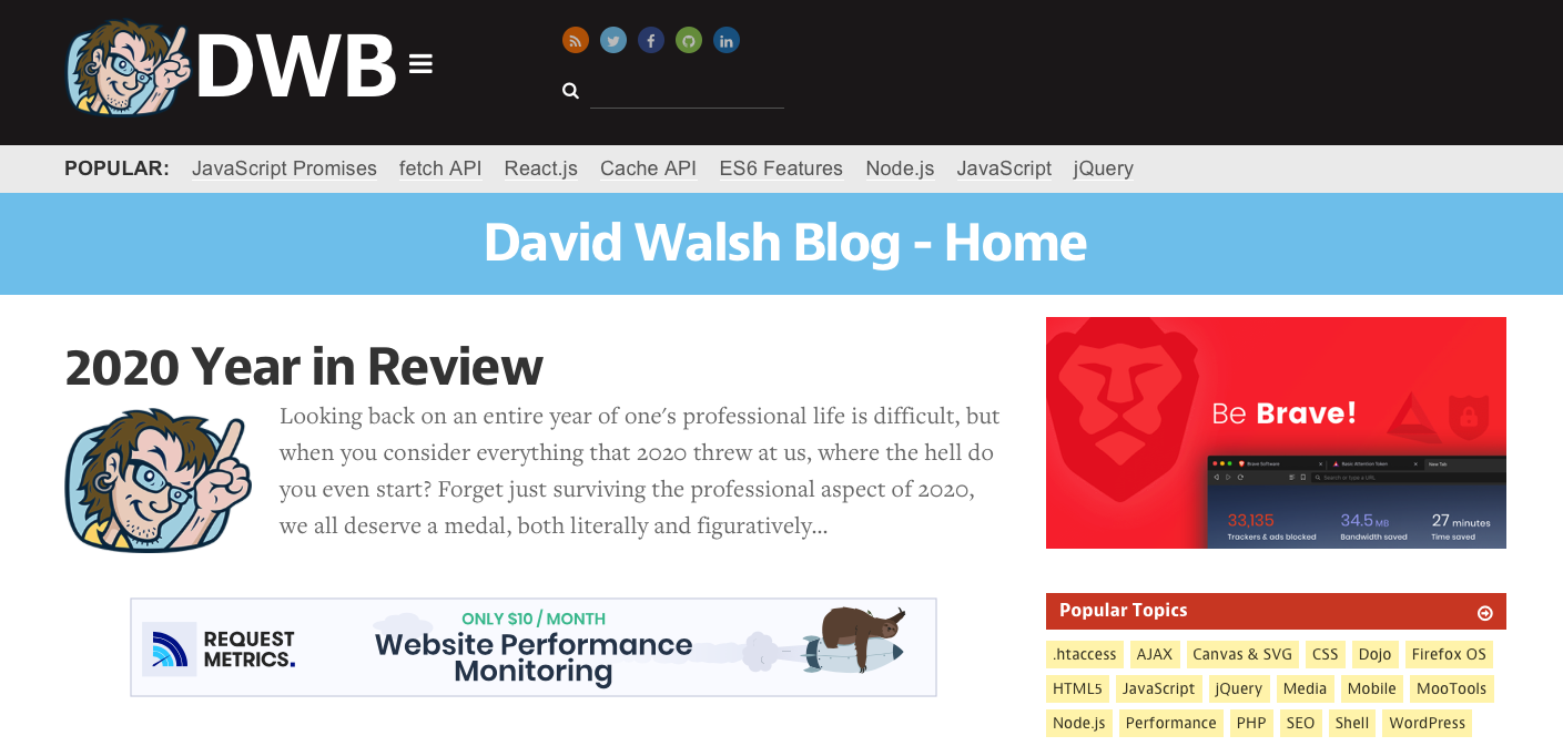 Top JavaScript Experts And Thought Leaders to Follow david walsh