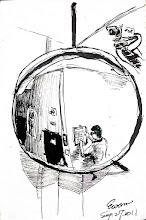Photo: 監視器與反射鏡2011.09.27鋼筆 監獄裡的硬體設備總是新舊並陳,在沒有監視器的年代裡,反射鏡是當時監看人犯的工具,而今電子時代來臨,高科技仍無法全然取代最簡單的東西。