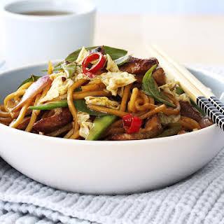 Pork, Noodle and Thai Basil Stir-Fry.