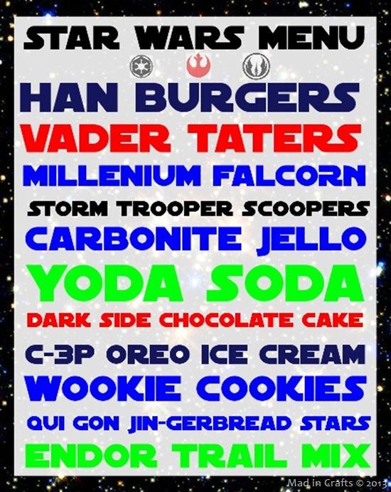 Photo: Star Wars Party Menu:  http://www.madincrafts.com/2013/01/homemade-star-wars-party-menu.html  #starwarstuesday