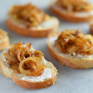 Goat Cheese and Caramelized Onion Crostini.