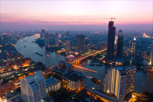General view of Bangkok at sunset