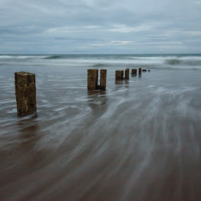 Youghal Strand 31-7-2017 by John Holmes - Landscapes Waterscapes ( sky, waves, sand, seascape, groynes, wood, breakers, clouds, timber, evening, blue hour, sea )