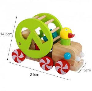 Jucarie de tras din lemn - Rata cu forme geometrice si snur