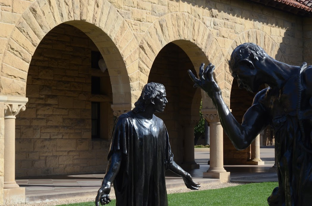 Bronze statues by Auguste Rodin in Stanford University