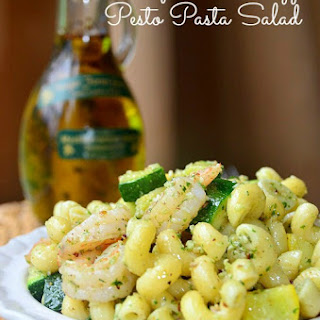Shrimp And Veggie Pesto Pasta Salad