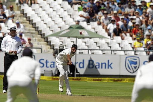 India's Bhuvneshwar Kumar makes a delivery on day one of the first Test against SA at Newlands, on January 5 2018. Picture: REUTERS