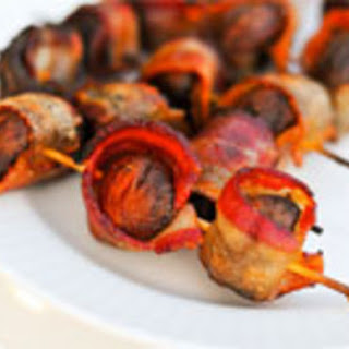 Bacon-Wrapped Crimini Mushrooms.