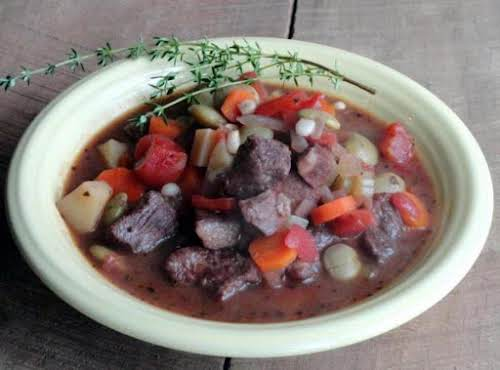 """Hearty Herb And Cabernet Beef Stew """"My dad made scrumptious vegetable and..."""