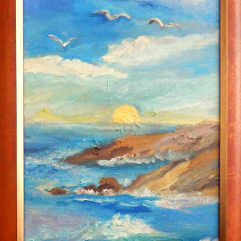 Missing Summer by Livia Copaceanu - Painting All Painting ( seascape, sunrise, painting, beach, summer )