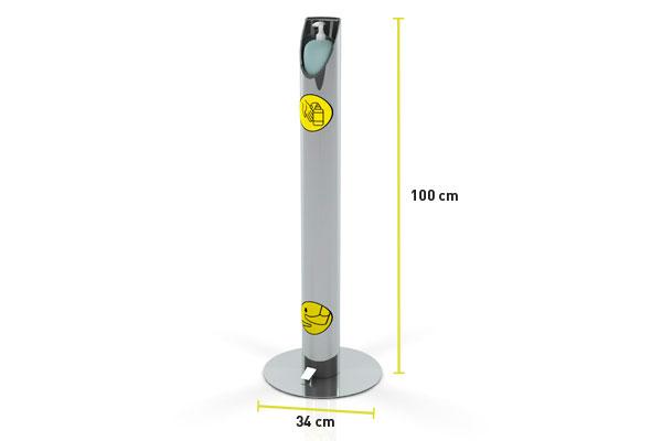 Pedal fabricado en acero inoxidable para dispensar alcohol gel anti covid 19