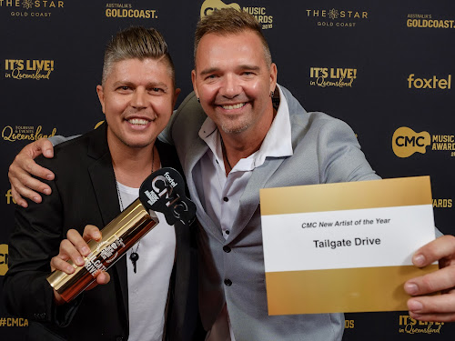 WINNERS: Damien Baguley and Troy Kemp of the duo Tailgate Drive were the delighted to be voted winners of the Music Channel New Artist of the Year Award for their song Bury Me In Blue Jeans.