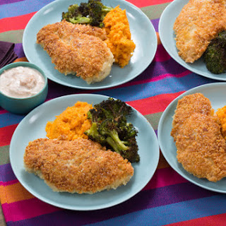 Crunchy Parmesan Chicken with Roasted Broccoli & Mashed Sweet Potatoes.