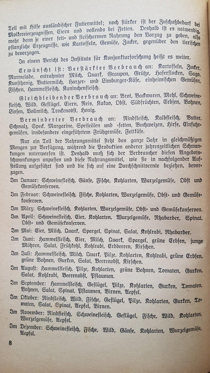 Eugen Bechtel, Nahrhaft, schmackhaft kochen - auch im Krieg!, 1940 - Einteilung