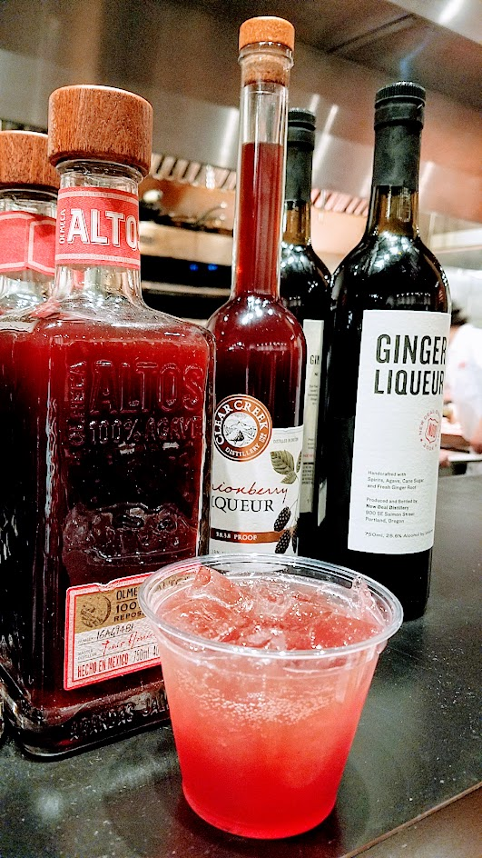 Oh-Face Killa cocktail with Altos reposado tequila, New Deal ginger liqueur, cassis, and San Pellegrino for the Not My President's Day Bloc(k) Party