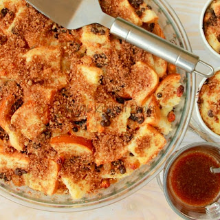 Classic Bread Butter Pudding with Bourbon Sauce