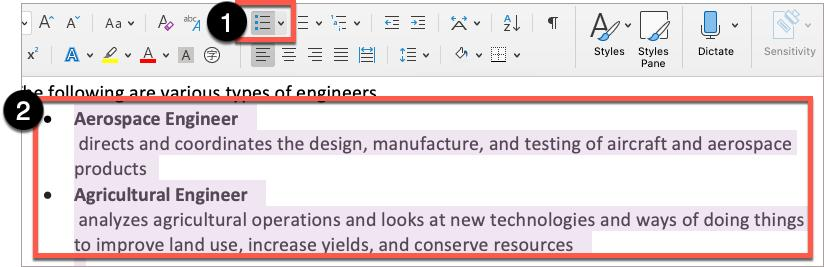 In Microsoft Word, select the grouped items, then select the appropriate list style.