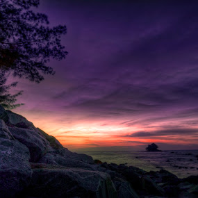 Stones at Empire beach by Mohamad Sa'at Haji Mokim - Nature Up Close Rock & Stone ( water, blue hour, sunset, beach, stones )