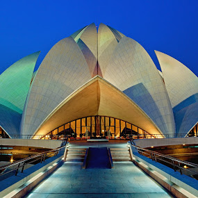 Lotus Temple by Jasminder Oberoi - Buildings & Architecture Other Exteriors ( bahai's house of worship, lotus temple, blue hour, india, architecture, delhi )