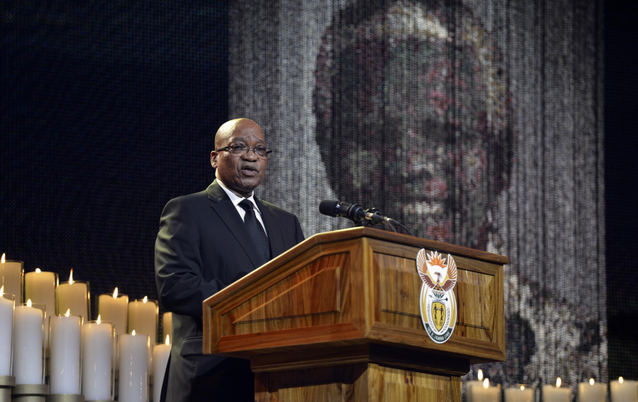 President Jacob Zuma speaks during the funeral ceremony for former president Nelson Mandela in 2013. Picture: REUTERS