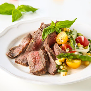 Marinated Flank Steak with Corn, Asparagus, and Tomato Salad
