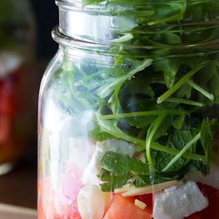 Watermelon, Feta and Arugula Mason Jar Salads