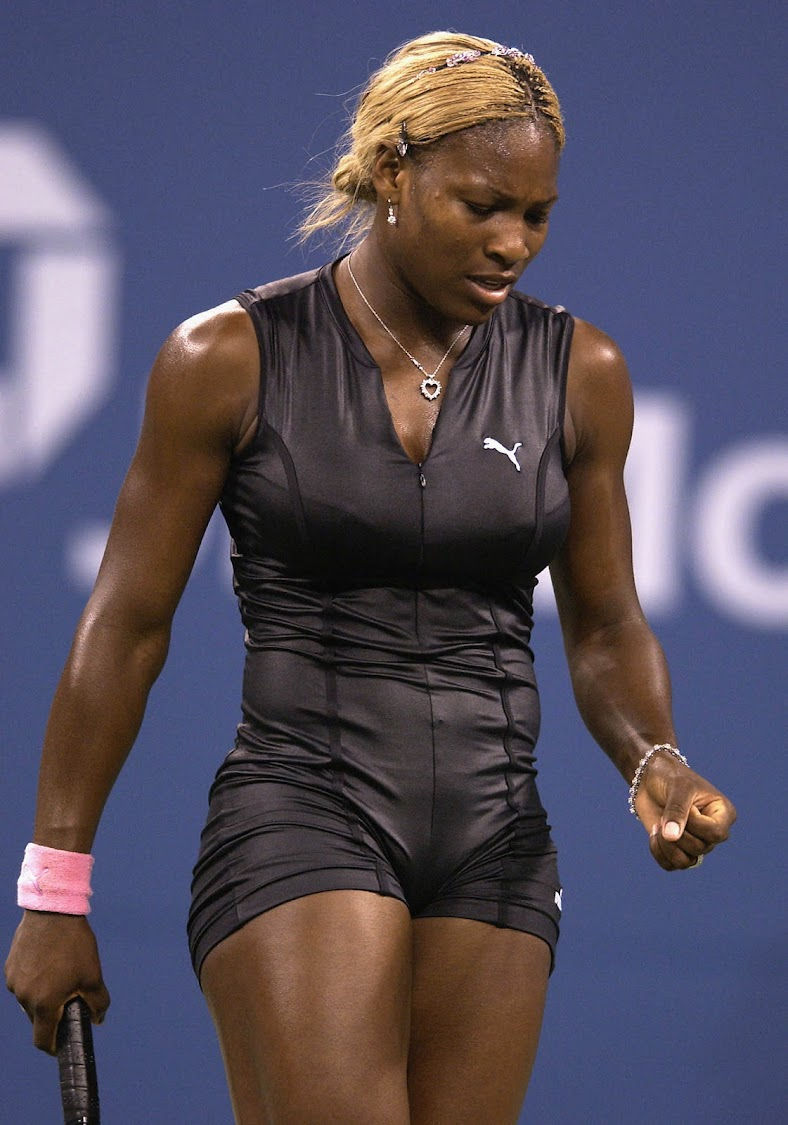 Serena Williams at the US Open August 26, 2002 at the USTA National Tennis Center in Flushing Meadows. (Photo by Ezra Shaw/Getty Images)
