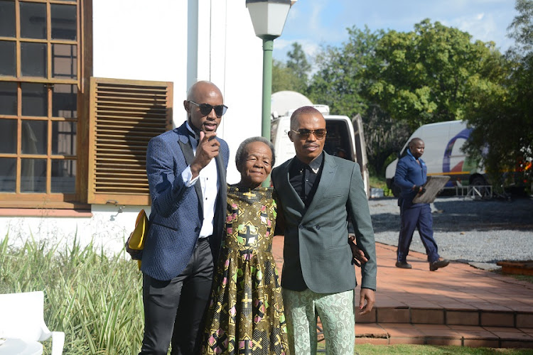 Somizi Mhlongo with his mother Mary Twala and his fiancee Mohale Motaung during the 2019 National Orders Awards on April 25, 2019 in Pretoria, South Africa.