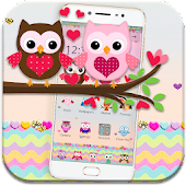 Pink Lovely Owl Cartoon Theme