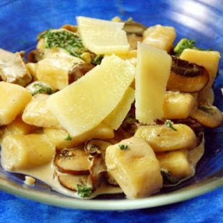 Potato Gnocchi With Kale and Mushrooms In A Goat Cheese Sauce