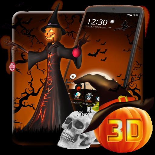 3D Halloween Pumpkin Night Theme
