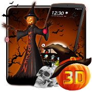 3D Halloween Pumpkin Night Theme