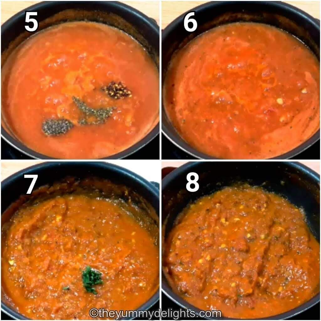 addition of oregano, salt & pepper for making the tomato pasta sauce