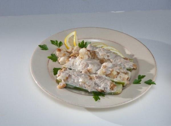 Fish Stuffed Zucchini Boats Recipe