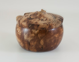 "Photo: Clif Poodry 5"" x 3""  lidded vessel [pignut hickory]"
