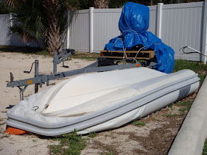 Photo: Troubadour's dinghy after we brought it home... kind of sad and forlorn looking.... but there is hope... this does give you a good look at the rub rail...