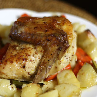 Roasted Chicken Dinner With Potatoes.