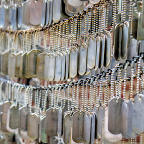 Unmarked Dog Tags by Dave Dabour - Artistic Objects Signs ( boston, freedom trail, 2018, ma, cape cod )